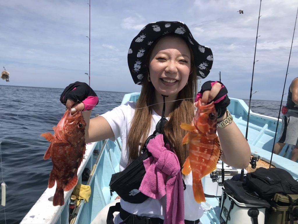 カサゴとアカハタ イッカで釣れました カサゴはキープ アカハタはリリース