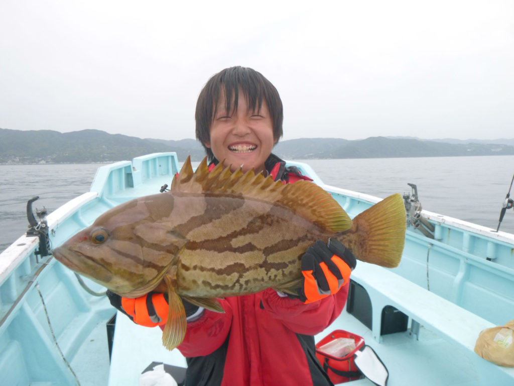 ホウキハタ 2.5kg ひとつテンヤ 初船釣り 一投目 着底食い